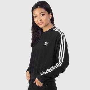 Adidas Women's 3 Stripes Crop Sweater